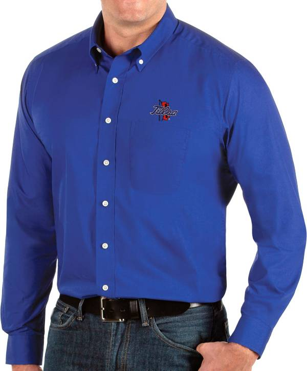 Antigua Men's Tulsa Golden Hurricane Blue Dynasty Long Sleeve Button-Down Shirt product image