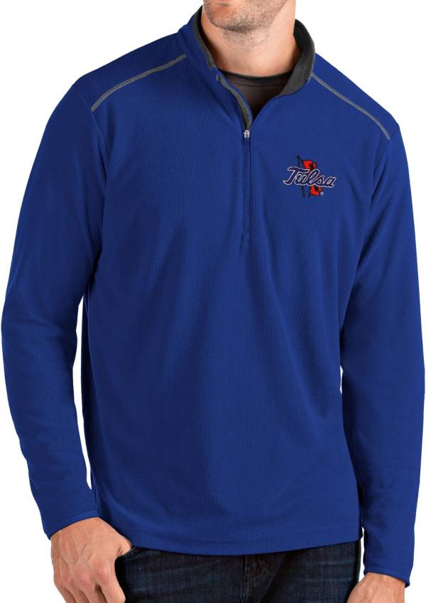 Antigua Men's Tulsa Golden Hurricane Blue Glacier Quarter-Zip Shirt product image