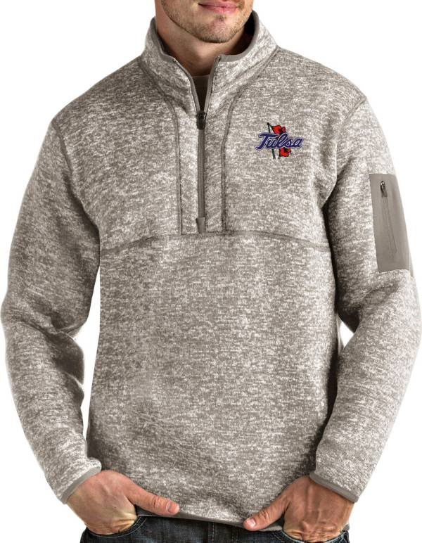 Antigua Men's Tulsa Golden Hurricane Oatmeal Fortune Pullover Black Jacket product image