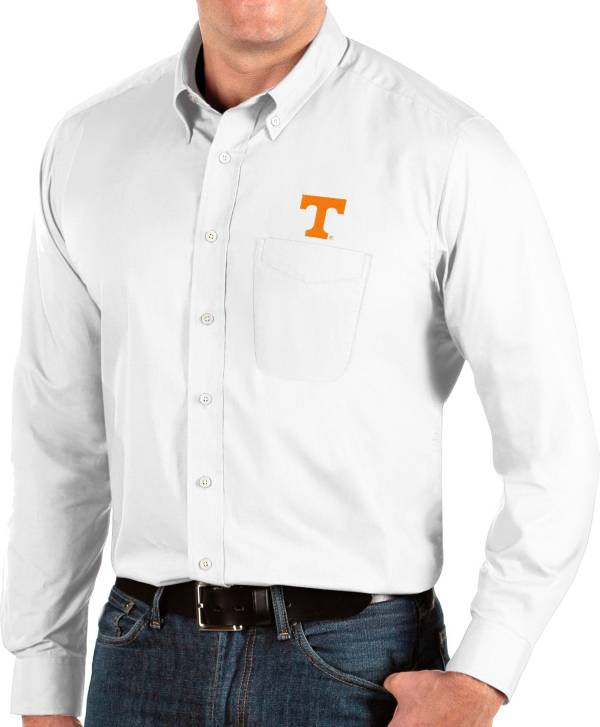 Antigua Men's Tennessee Volunteers Dynasty Long Sleeve Button-Down White Shirt product image