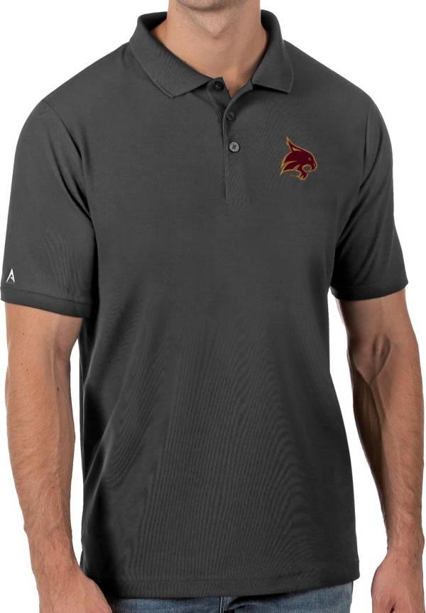 Antigua Men's Texas State Bobcats Grey Legacy Pique Polo product image