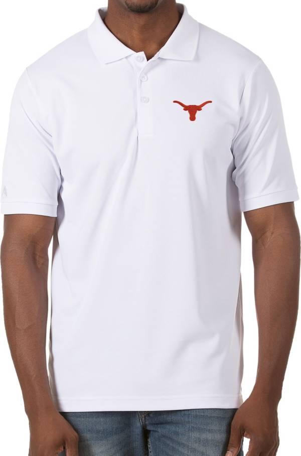Antigua Men's Texas Longhorns Legacy Pique White Polo product image