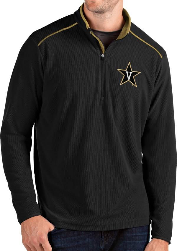 Antigua Men's Vanderbilt Commodores Glacier Quarter-Zip Black Shirt product image