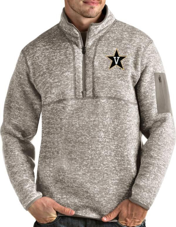 Antigua Men's Vanderbilt Commodores Oatmeal Fortune Pullover Black Jacket product image