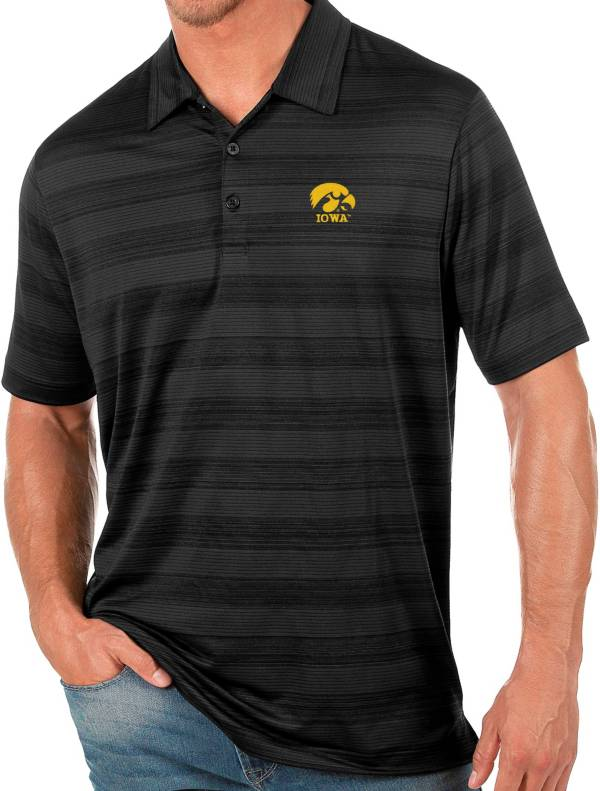 Antigua Men's Iowa Hawkeyes Black Compass Polo product image