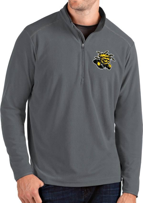 Antigua Men's Wichita State Shockers Grey Glacier Quarter-Zip Shirt product image