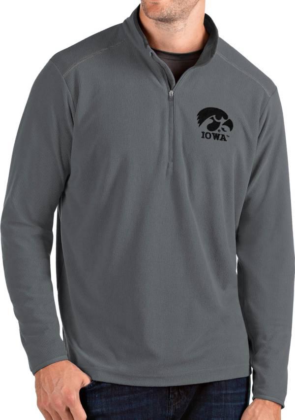 Antigua Men's Iowa Hawkeyes Grey Glacier Quarter-Zip Shirt product image