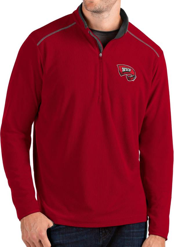 Antigua Men's Western Kentucky Hilltoppers Red Glacier Quarter-Zip Shirt product image