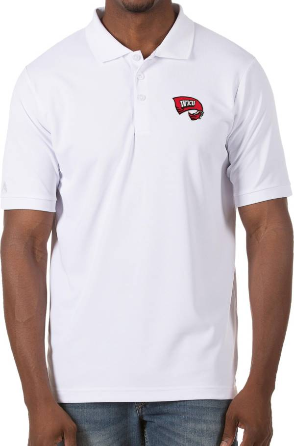 Antigua Men's Western Kentucky Hilltoppers Legacy Pique White Polo product image