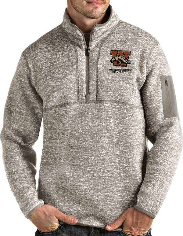 Antigua Men's Western Michigan Broncos Oatmeal Fortune Pullover Black Jacket product image