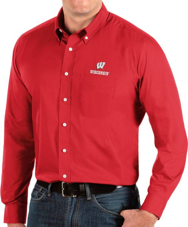 Antigua Men's Wisconsin Badgers Red Dynasty Long Sleeve Button-Down Shirt product image