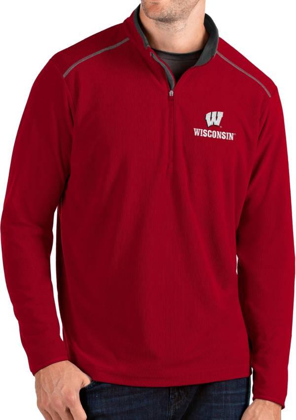 Antigua Men's Wisconsin Badgers Red Glacier Quarter-Zip Shirt product image