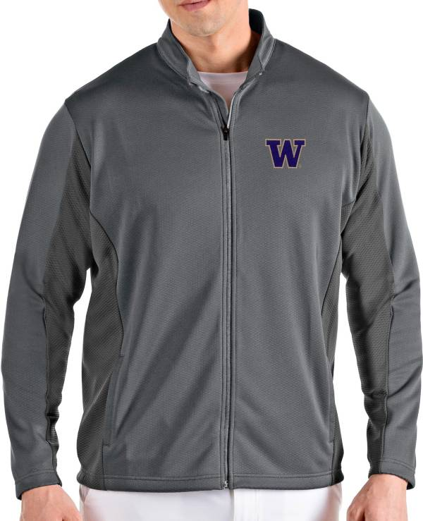 Antigua Men's Washington Huskies Grey Passage Full-Zip Jacket product image