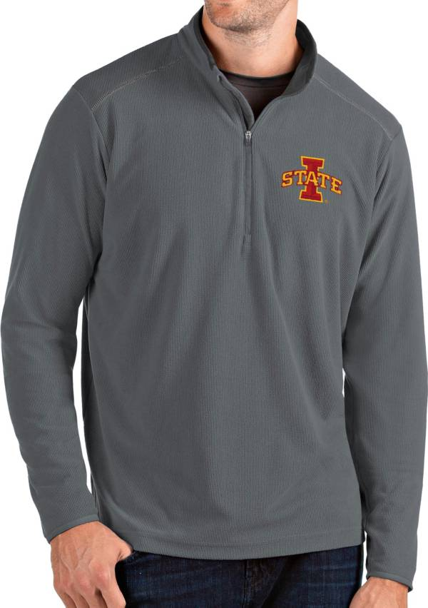 Antigua Men's Iowa State Cyclones Grey Glacier Quarter-Zip Shirt product image