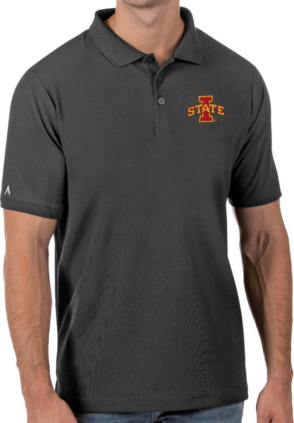 Antigua Men's Iowa State Cyclones Grey Legacy Pique Polo product image