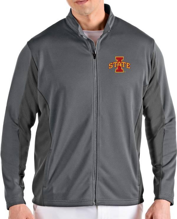 Antigua Men's Iowa State Cyclones Grey Passage Full-Zip Jacket product image
