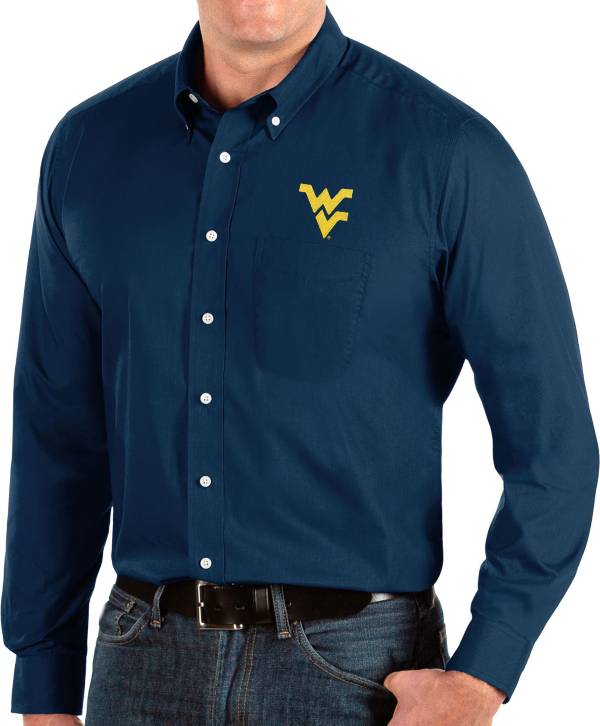 Antigua Men's West Virginia Mountaineers Blue Dynasty Long Sleeve Button-Down Shirt product image