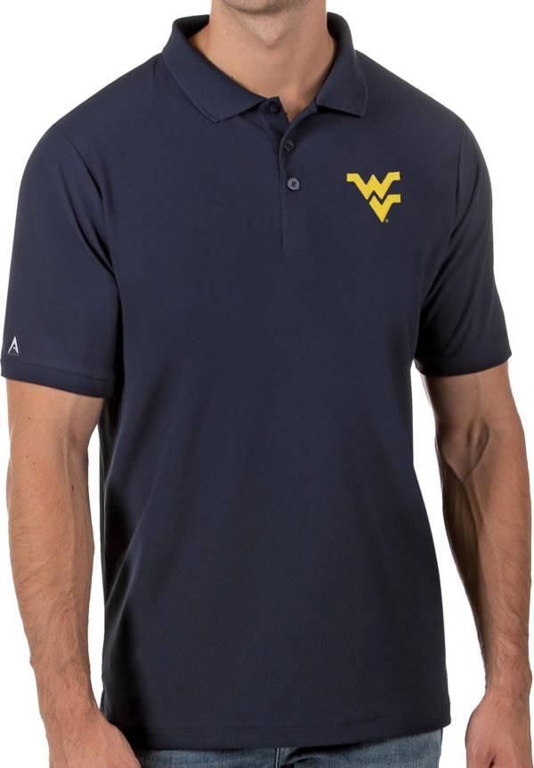 Antigua Men's West Virginia Mountaineers Blue Legacy Pique Polo product image