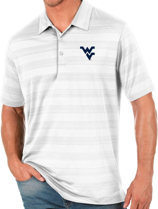 Antigua Men's West Virginia Mountaineers White Compass Polo product image