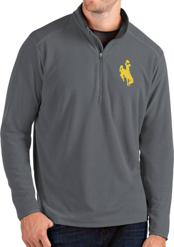 Antigua Men's Wyoming Cowboys Grey Glacier Quarter-Zip Shirt product image