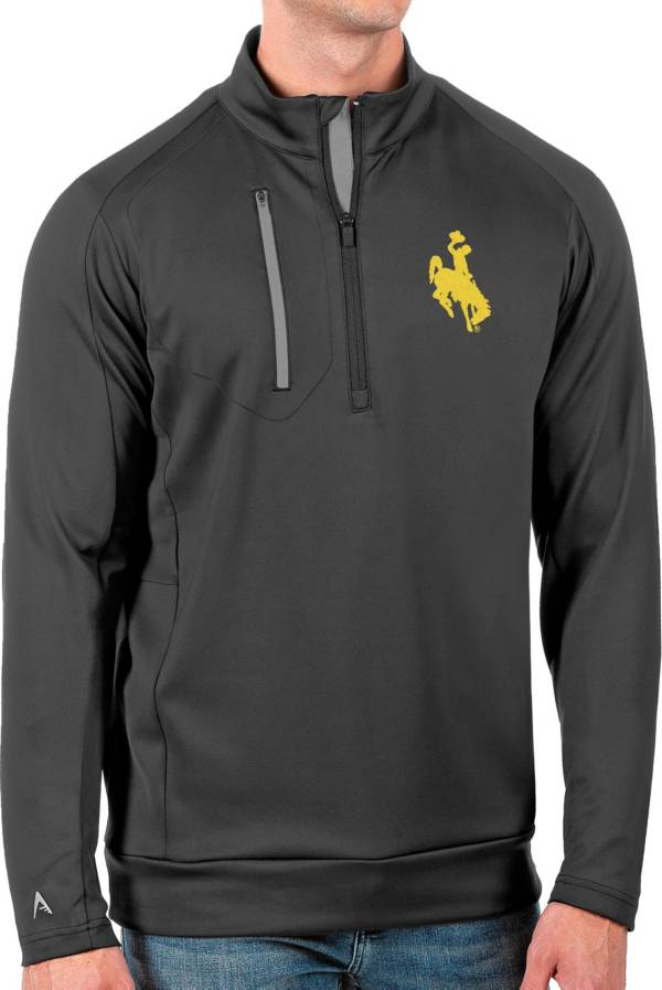 Antigua Men's Wyoming Cowboys Grey Generation Half-Zip Pullover Shirt product image