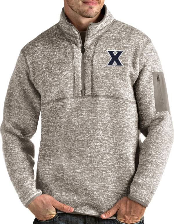 Antigua Men's Xavier Musketeers Oatmeal Fortune Pullover Black Jacket product image