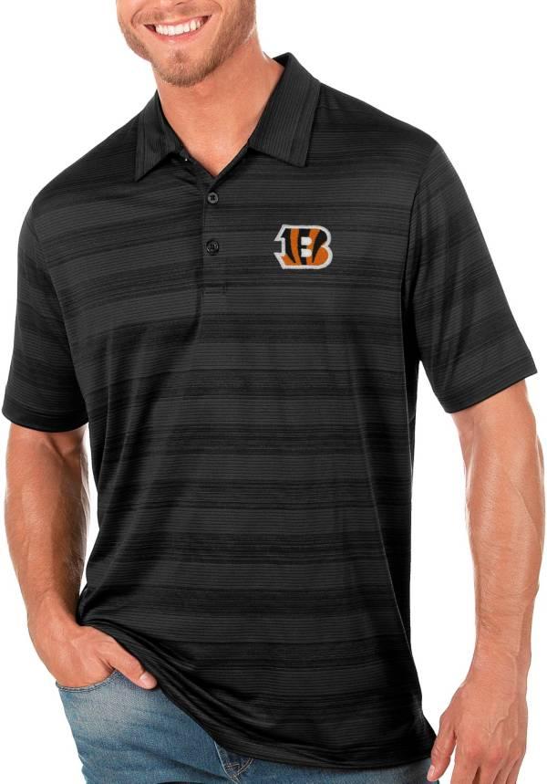 Antigua Men's Cincinnati Bengals Compass Black Polo product image