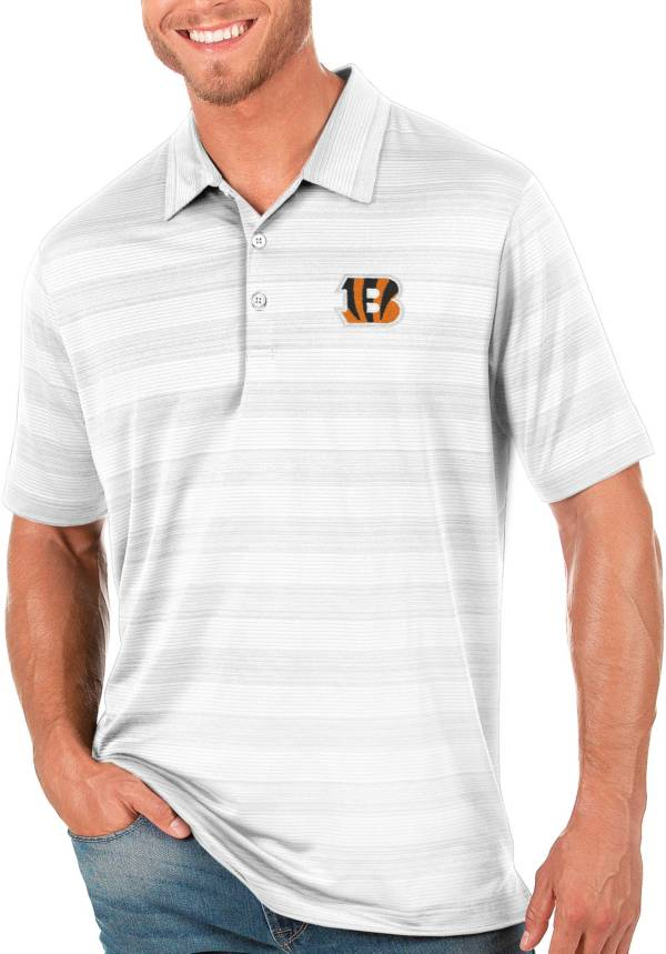 Antigua Men's Cincinnati Bengals Compass White Polo product image