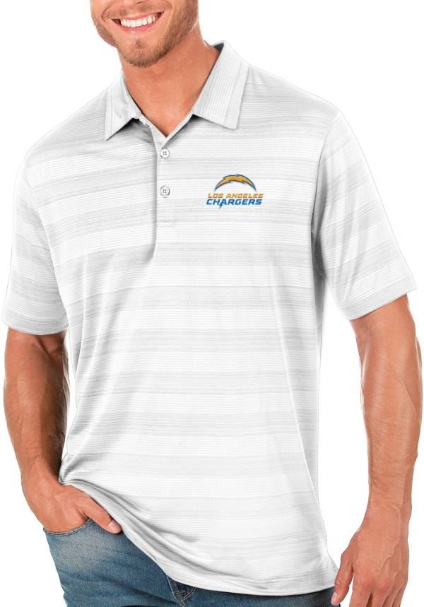 Antigua Men's Los Angeles Chargers Compass White Polo product image