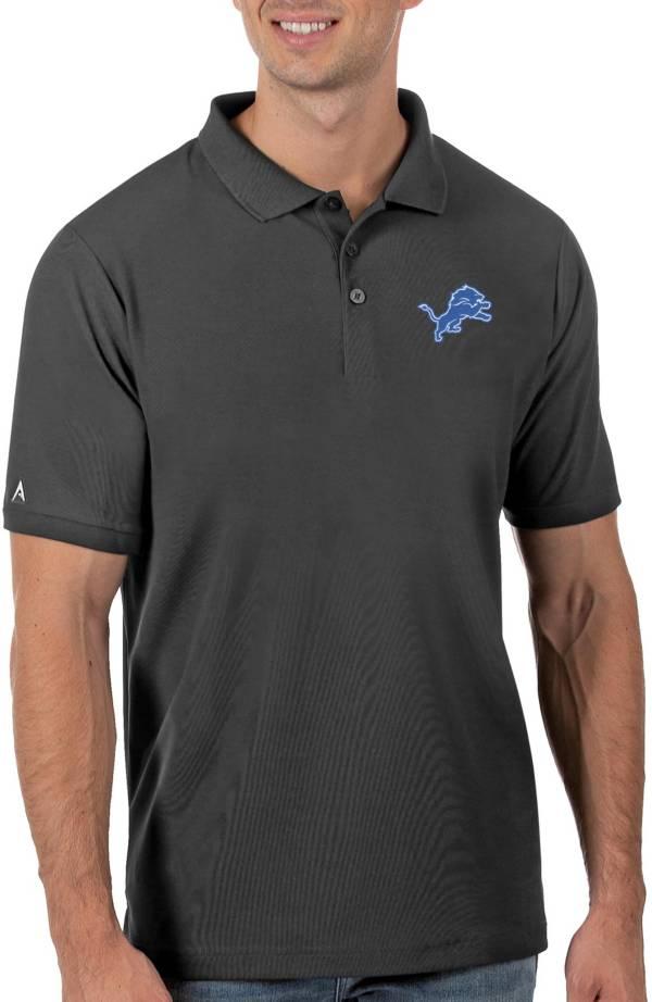 Antigua Men's Detroit Lions Grey Legacy Pique Polo product image