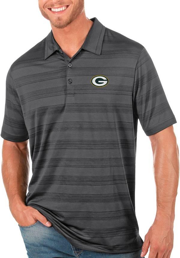Antigua Men's Green Bay Packers Grey Compass Polo product image
