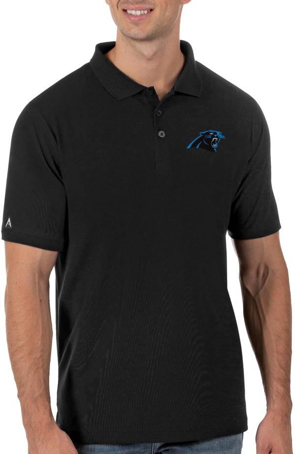 Antigua Men's Carolina Panthers Legacy Pique Black Polo product image