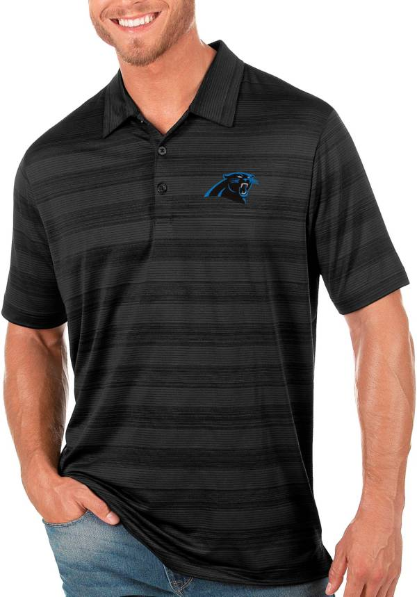 Antigua Men's Carolina Panthers Compass Black Polo product image