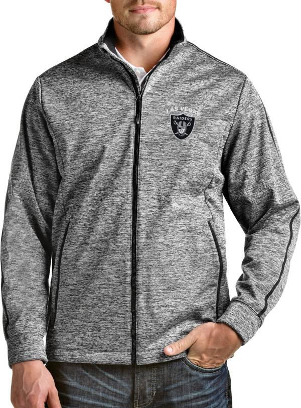 Antigua Men's Las Vegas Raiders Heather Black Full-Zip Golf Jacket product image