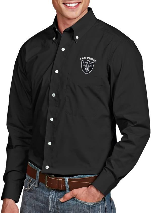 Antigua Men's Las Vegas Raiders Dynasty Button Down Black Collared Shirt product image