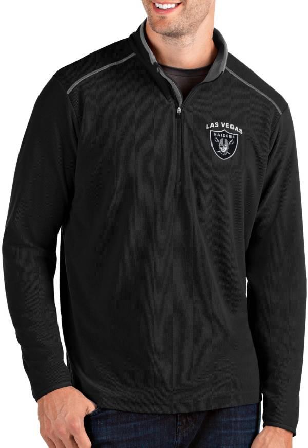 Antigua Men's Las Vegas Raiders Glacier Black/Grey Quarter-Zip Pullover product image