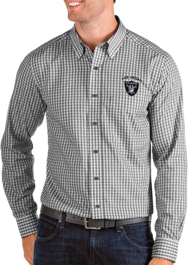 Antigua Men's Las Vegas Raiders Structure Button Down Collared Shirt product image