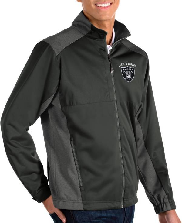 Antigua Men's Las Vegas Raiders Revolve Charcoal Full-Zip Jacket product image