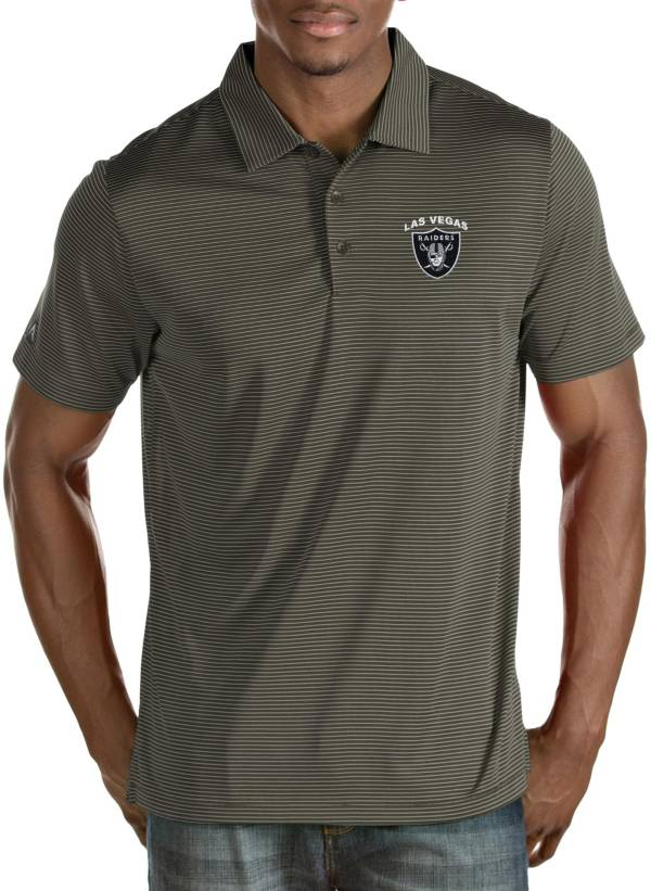 Antigua Men's Las Vegas Raiders Quest Grey Polo product image