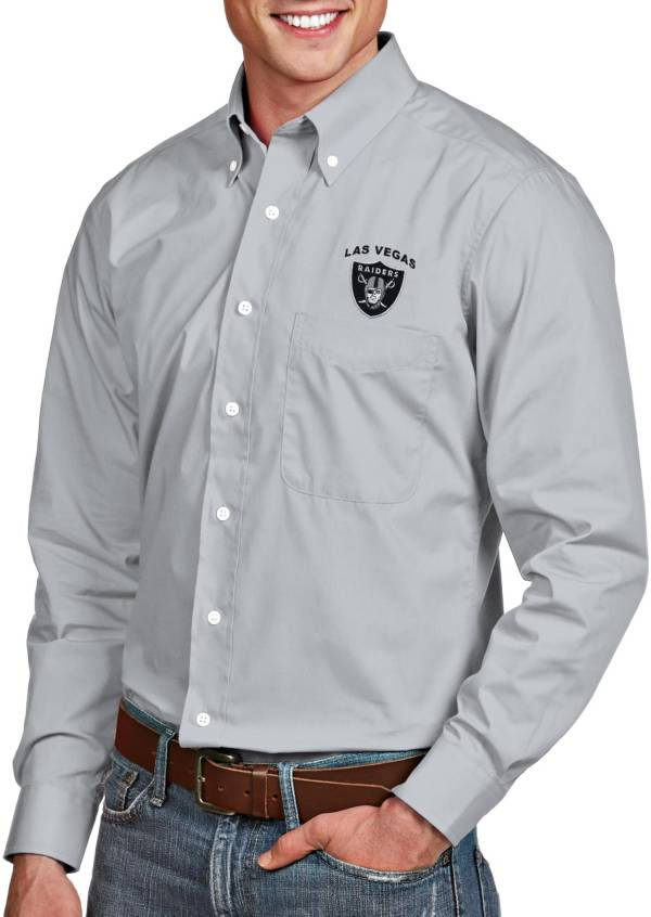 Antigua Men's Las Vegas Raiders Dynasty Button Down Silver Collared Shirt product image