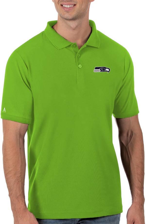 Antigua Men's Seattle Seahawks Green Legacy Pique Polo product image