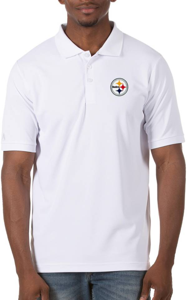 Antigua Men's Pittsburgh Steelers Legacy Pique White Polo product image