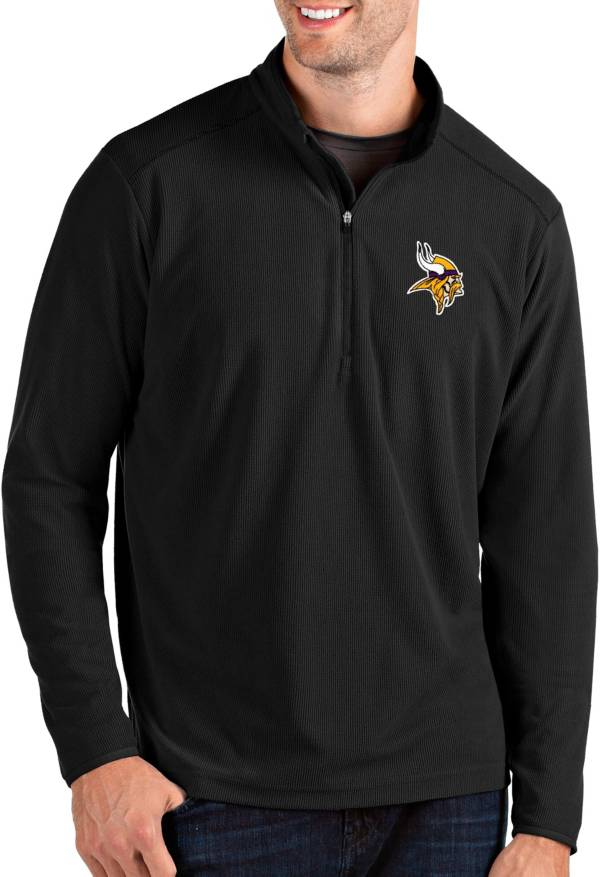 Antigua Men's Minnesota Vikings Glacier Black Quarter-Zip Pullover product image