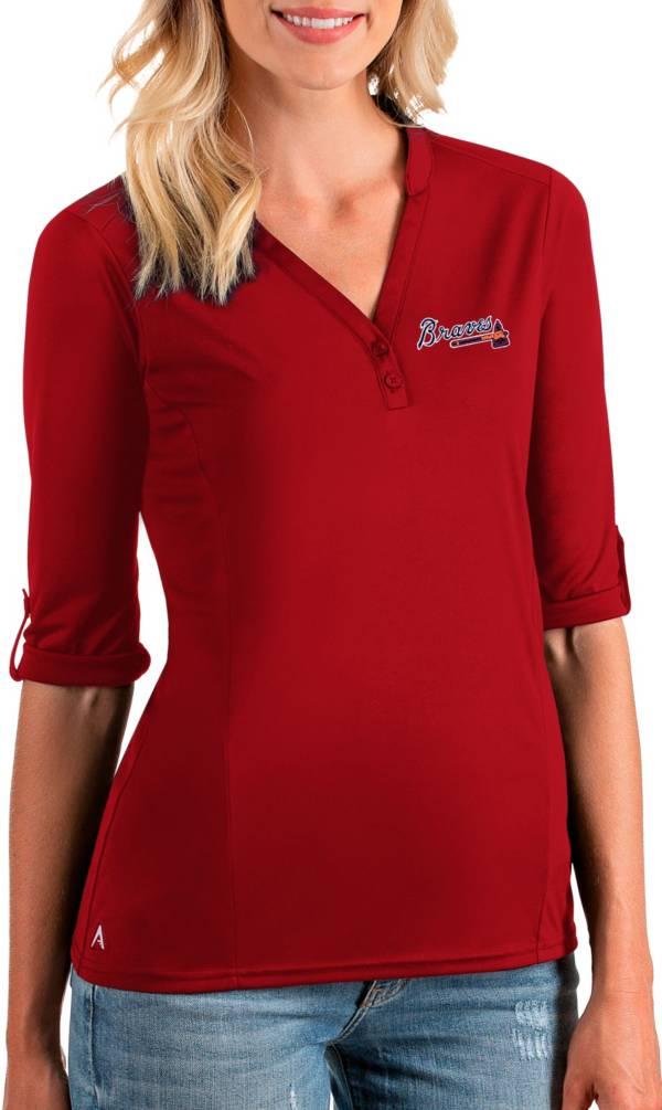 Antigua Women's Atlanta Braves Red Accolade Three-Quarter Sleeve Polo product image