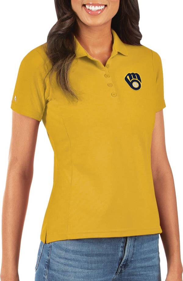Antigua Women's Milwaukee Brewers Gold Legacy Pique Polo product image