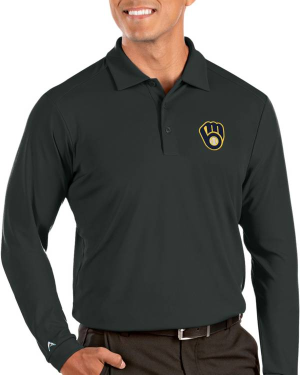 Antigua Men's Milwaukee Brewers Grey Tribute Long Sleeve Performance Polo product image