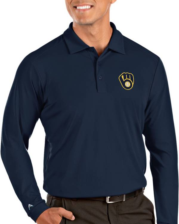 Antigua Men's Milwaukee Brewers Navy Tribute Long Sleeve Performance Polo product image