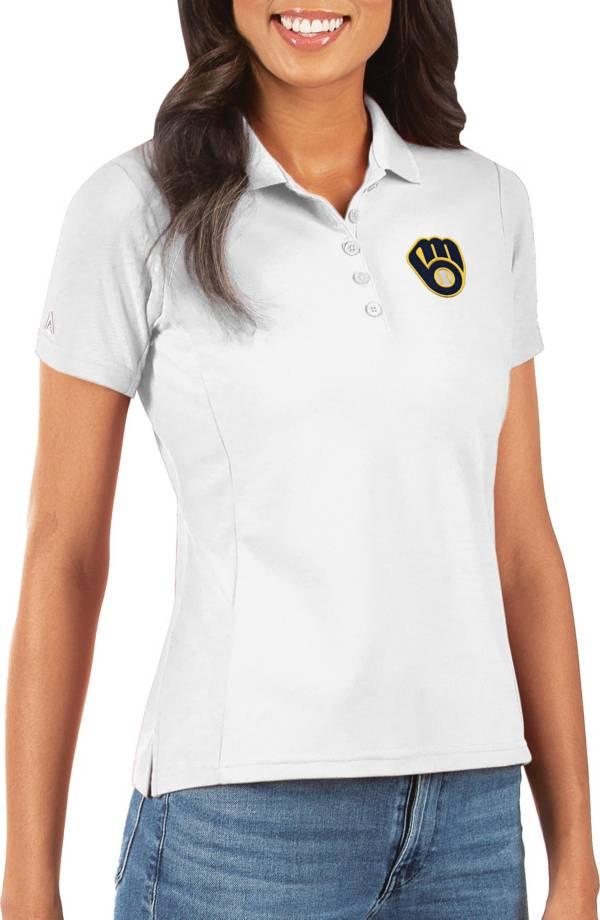 Antigua Women's Milwaukee Brewers White Legacy Pique Polo product image