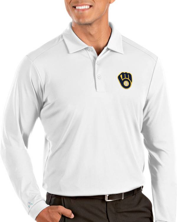 Antigua Men's Milwaukee Brewers Tribute Long Sleeve Performance White Polo product image