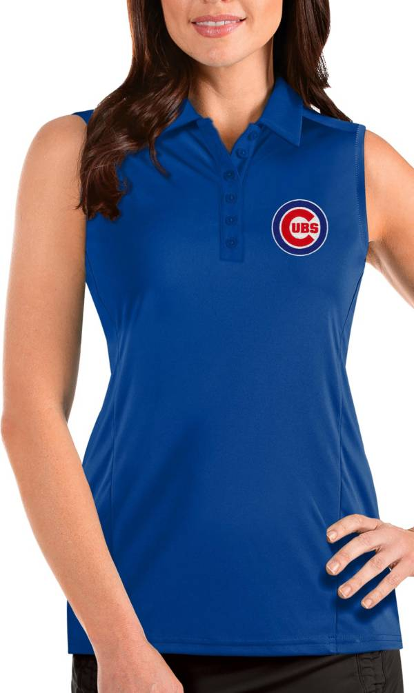Antigua Women's Chicago Cubs Blue Tribute Sleeveless Polo product image